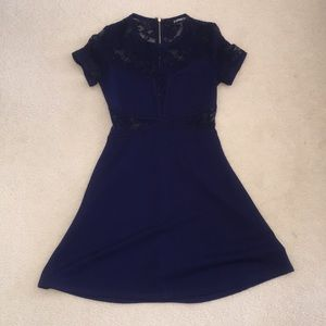 Sexy navy fit and flare dress!